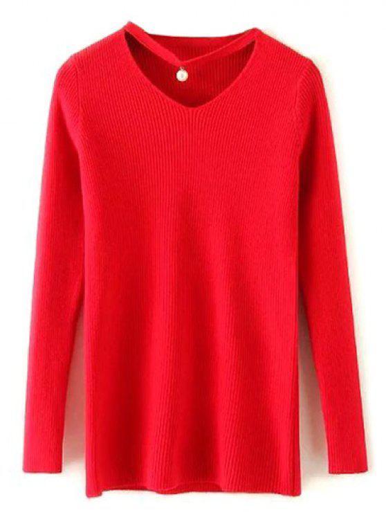 Gargantilla de manga larga del suéter - Rojo Única Talla