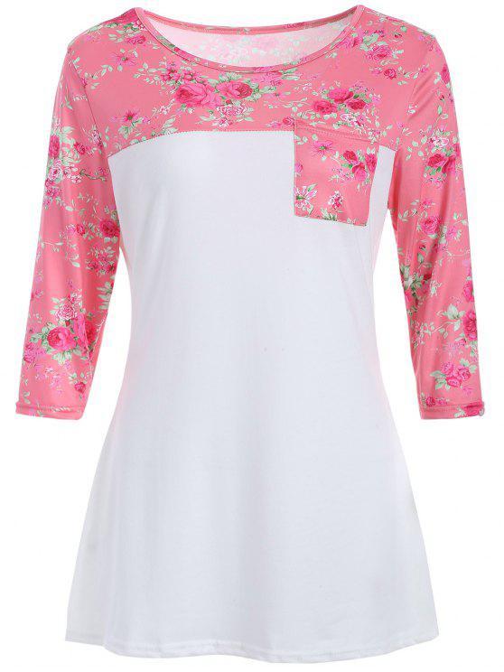 Suelta camiseta floral - Blanco M