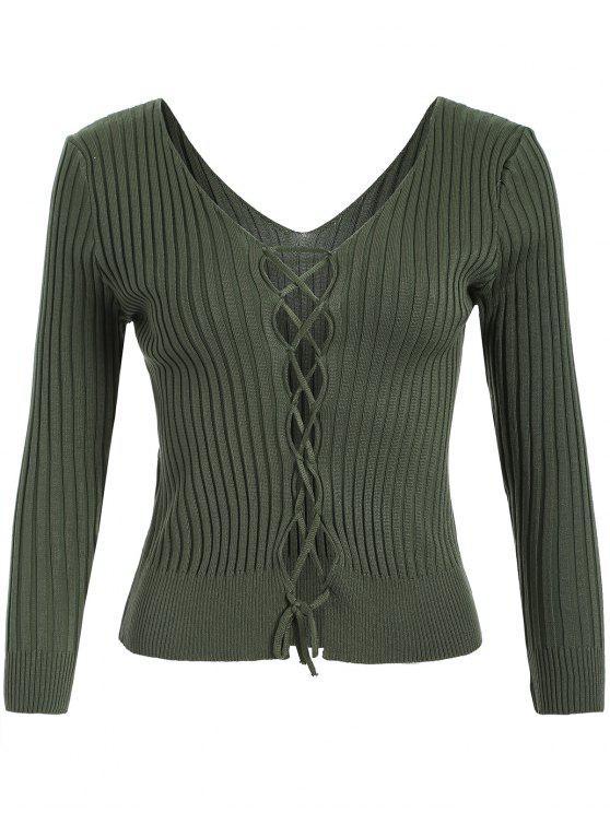 Suéter com gola V e transpasse de cordão com nervuras - Verde Um Tamanho