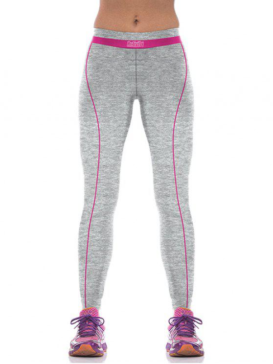 chic Yoga Color Block Sports Pants - ROSE RED M