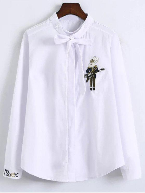 lady Patched Bowknot Embroidered Shirts - WHITE L