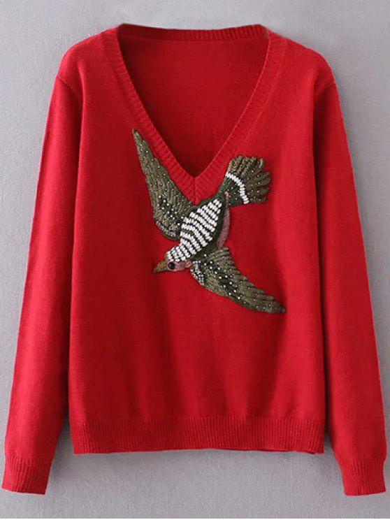 fancy Embroidered V Neck Sweater - RED ONE SIZE