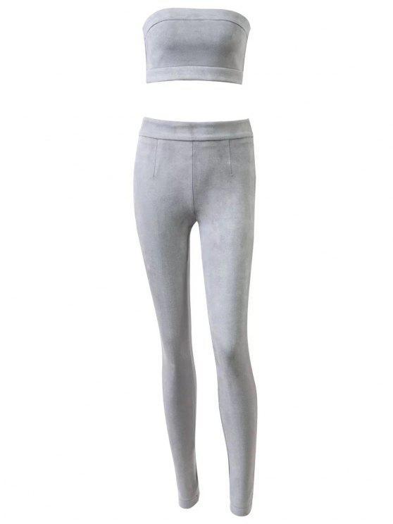 Pantalon taille haute en daim avec top bandeau court - Gris M