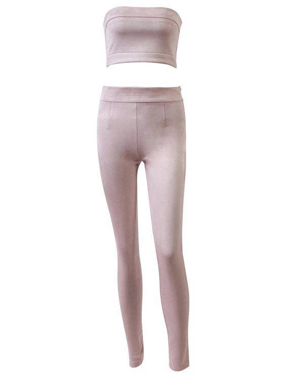 Pantalon taille haute en daim avec top bandeau court - Rose  S