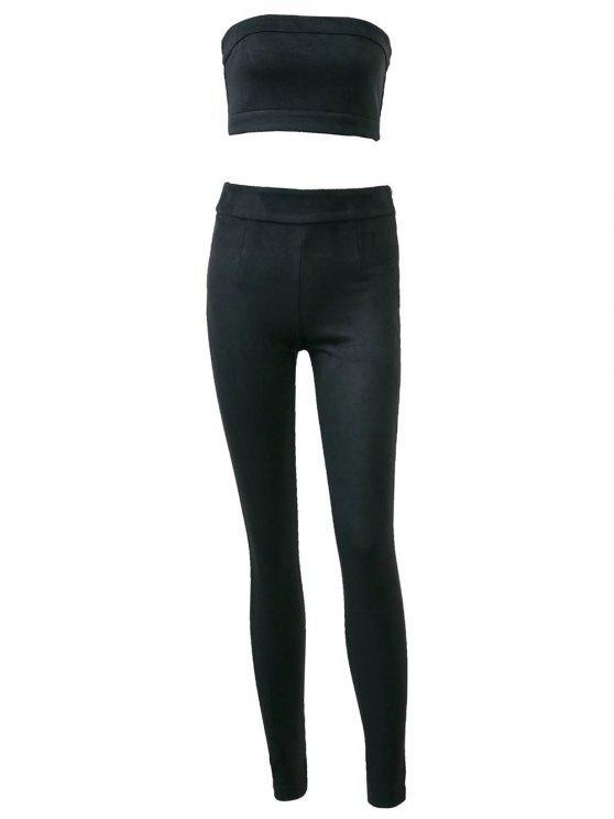 Pantalon taille haute en daim avec top bandeau court - Noir S
