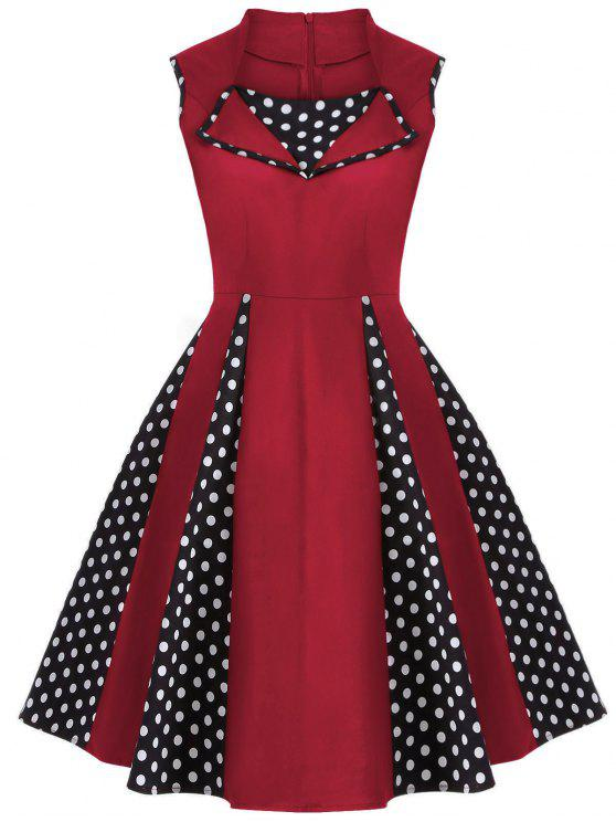 ladies Vintage Sleeveless Polka Dot Dress - RED S