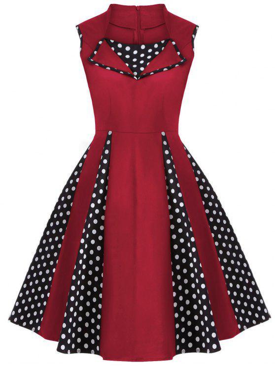 Robe vintage en polka dot sans manches  au genou - Rouge S