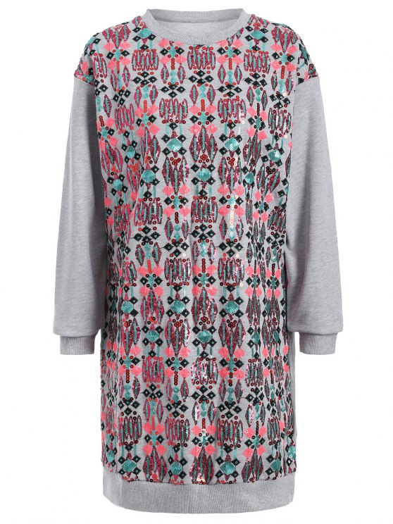 buy Embroidered Sequined Long Sleeve Dress - GRAY L