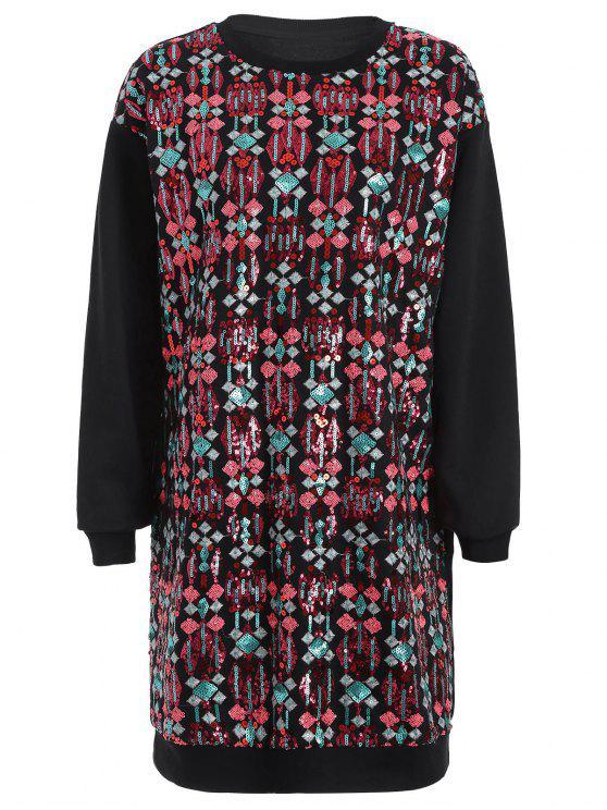 Vestido longo bordado de mangas compridas - Preto L