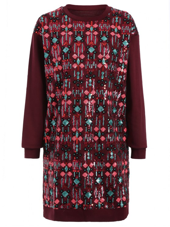 lady Embroidered Sequined Long Sleeve Dress - WINE RED M