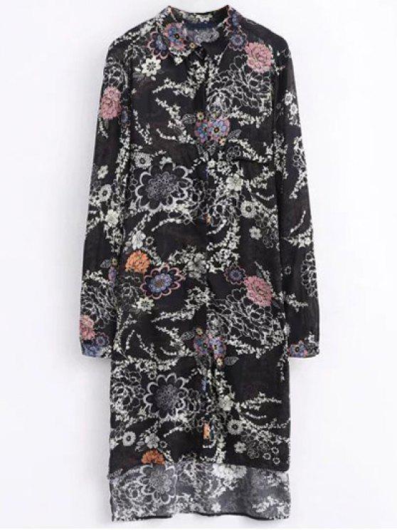 lady High Low Retro Floral Shirt Dress - BLACK M