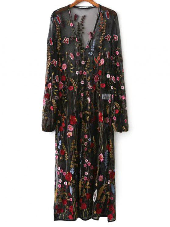 Mesh floral embroidered sheer dress black long sleeve