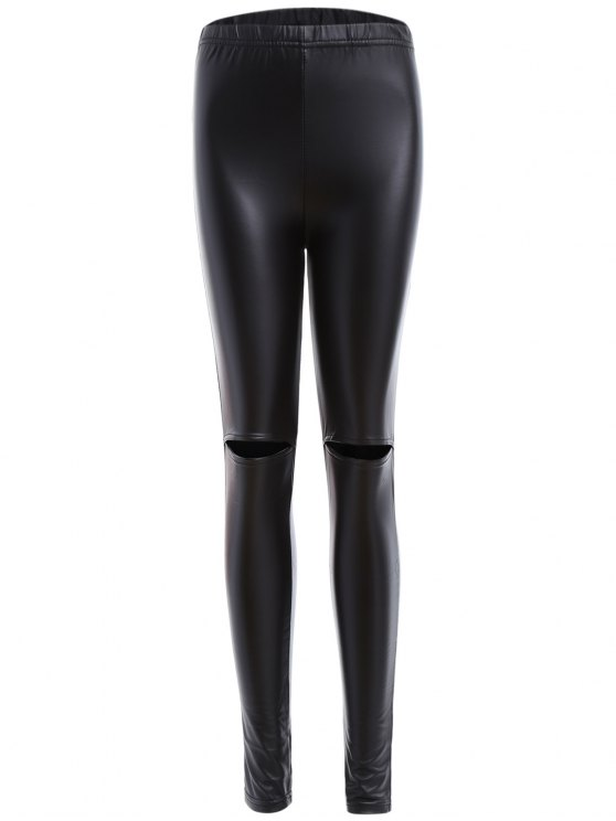 de9f67925ab62a 33% OFF] 2019 Distressed Faux Leather Leggings In BLACK | ZAFUL