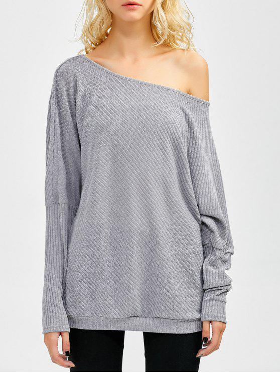 outfit Asymmetric Neckline Batwing Sweater - GRAY M