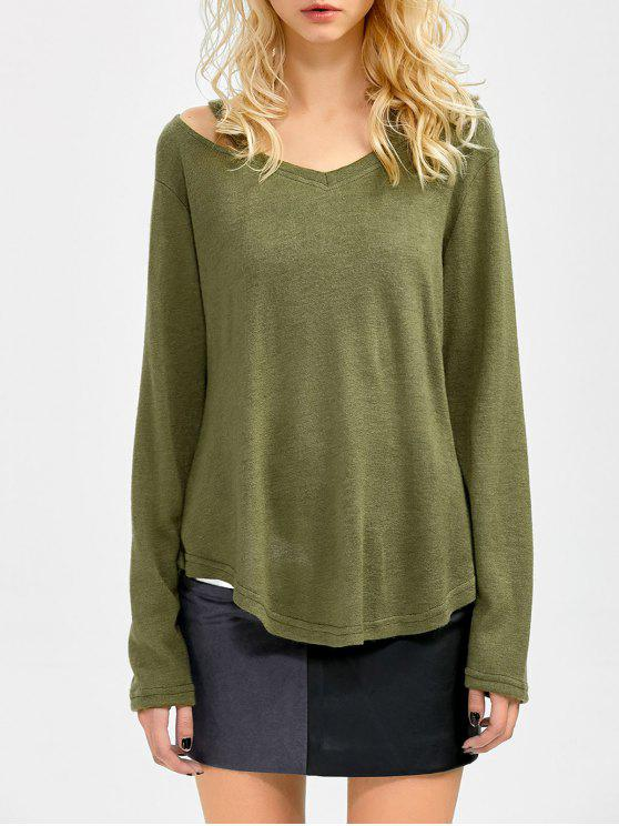 chic Cut Out Pullover Sweater - ARMY GREEN L