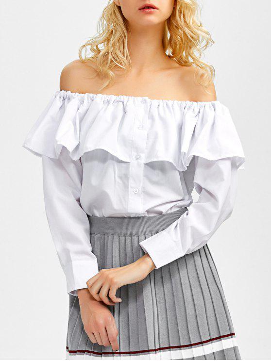 online Frilled Off The Shoulder Blouse - WHITE S