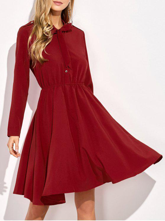 ladies Long Sleeve Bowknot A-Line Dress - RED XL