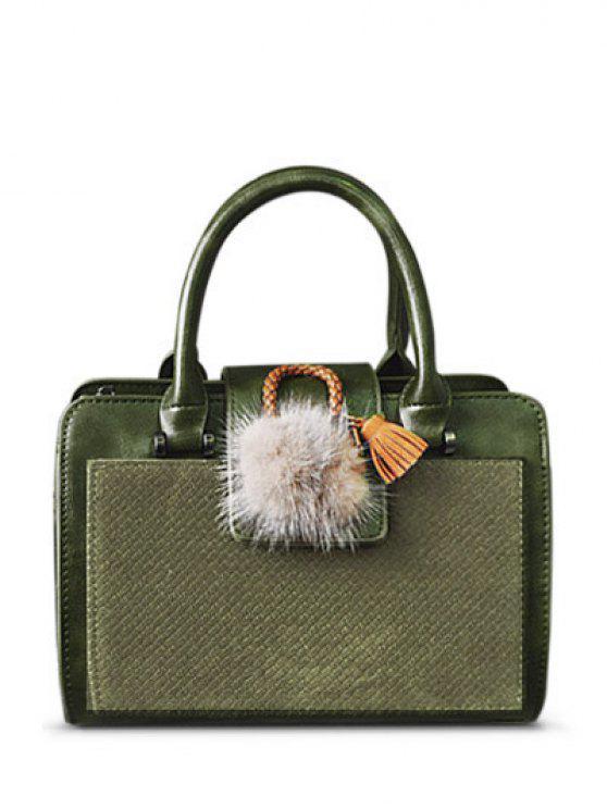 fashion Pompon Suede Panel Handbag - GREEN