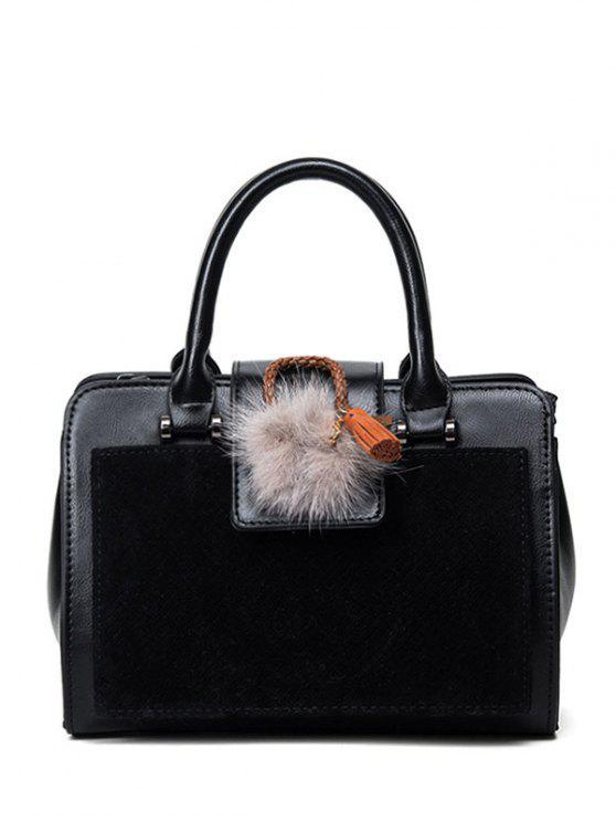 fancy Pompon Suede Panel Handbag - BLACK