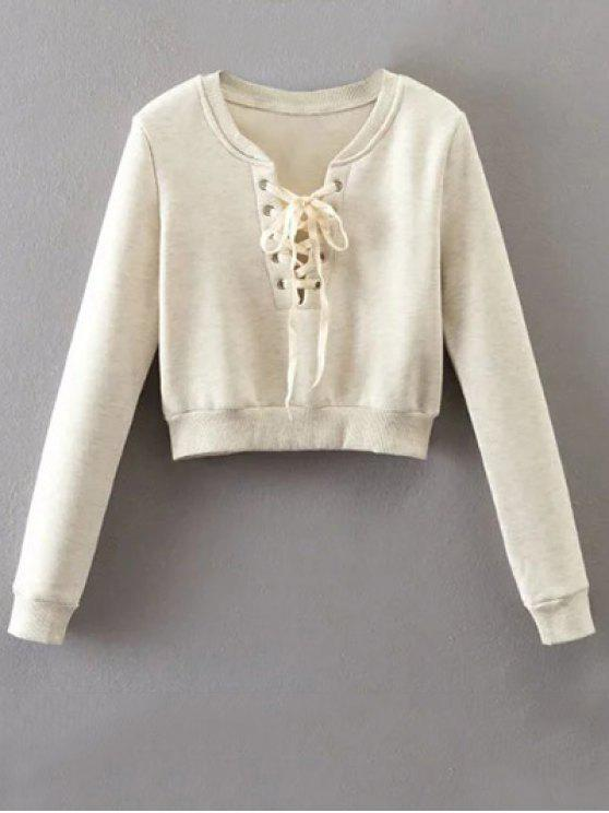 affordable Lace Up Cropped Pullover Sweatshirt - OFF-WHITE S