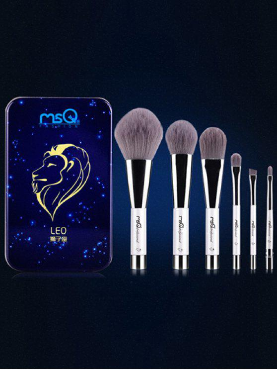 fashion Leo 6 Pcs Magnetic Makeup Brushes Kit - BLUE