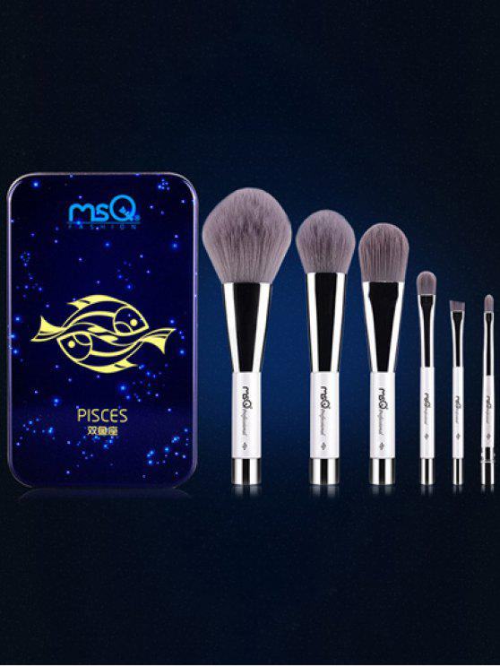 chic Pisces 6 Pcs Magnetic Makeup Brushes Kit - BLUE