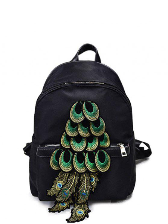 latest Peacock Feather Appliques Backpack - BLACK