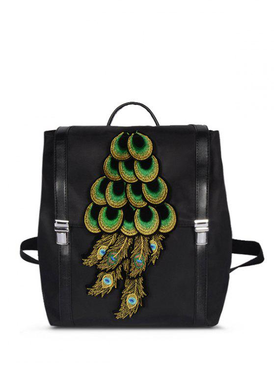 trendy Peacock Appliques NylonBackpack - BLACK