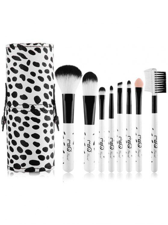 best 8 Pcs Daily Cow Print Makeup Brushes Kit - WHITE