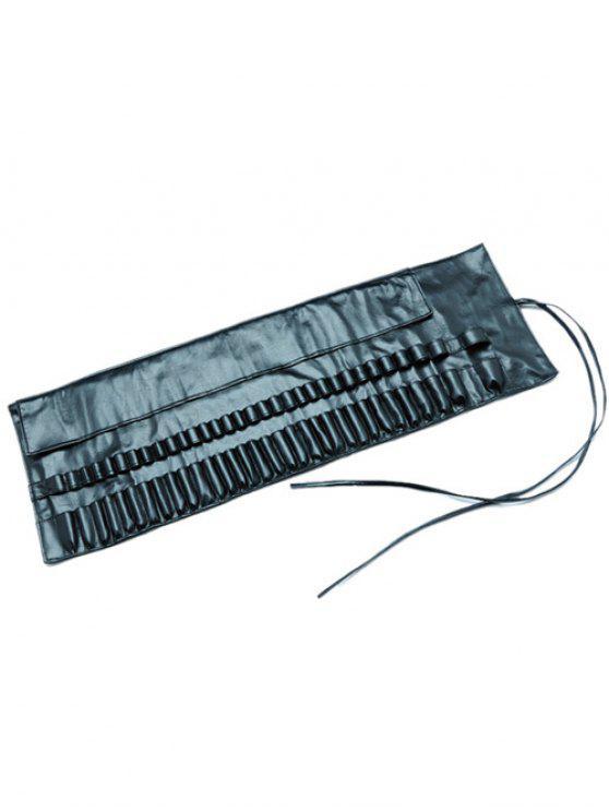 Viaje de imitación de piel de maquillaje del cepillo bolsa de almacenamiento - Negro