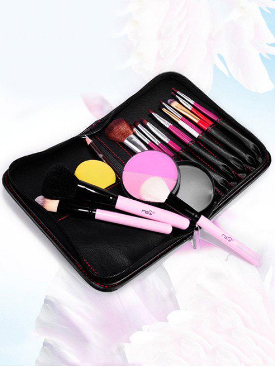 ladies Faux Leather Makeup Storage Bag Cosmetic Bag - BLACK