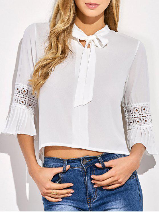 Bowknot de la blusa de la manga de la llamarada - Blanco Única Talla