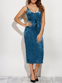 Back Slit Velvet Cami Pencil Dress - Blue L