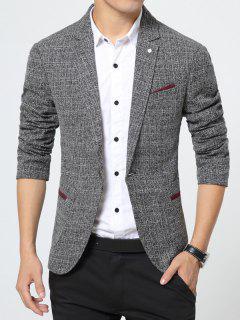 Notch Lapel Pocket Texture One Button Blazer - Gray M