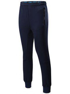 Sports Jogging Pants With Zip - Cadetblue M
