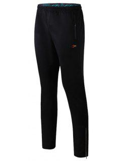 Elastic Waist Zipper Design Straight Leg Polyester Pants - Black M