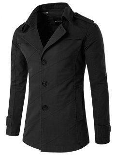 Splicing Design Single Breasted Coat - Black L