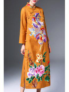 Long Sleeve Embroidered Slit Cheongsam Dress - Earthy M