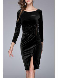 Velvet Ruched Bodycon Dress - Black S