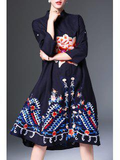 Mandarin Collar Embroidered Loose Midi Dress - Black Xl