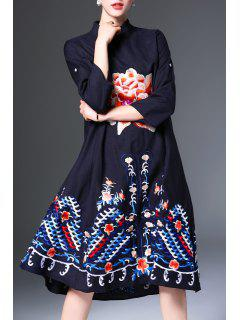 Mandarin Collar Embroidered Loose Midi Dress - Black M