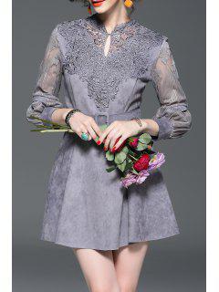 Crochet Suede Mini Wedding Party Dress - Gray S