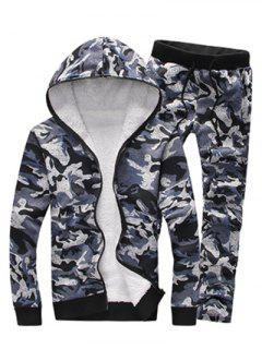 Camouflage Zip Up Flocking Hoodie And Pants Twinset - Gray M