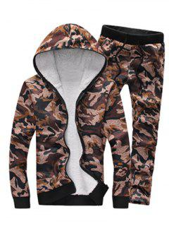 Camouflage Zip Up Flocking Hoodie And Pants Twinset - Coffee L