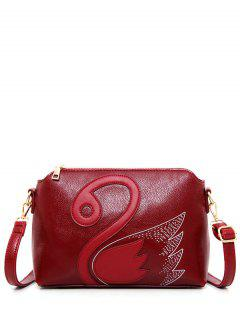 Textured Leather Stitching Wing Pattern Crossbody Bag - Deep Red