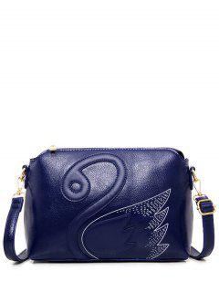 Textured Leather Stitching Wing Pattern Crossbody Bag - Blue