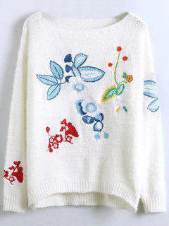 Floral Embroidered Fluffy Sweater - White