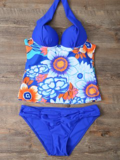 Ethnic Floral Underwire Tankini Swimsuit - Blue M