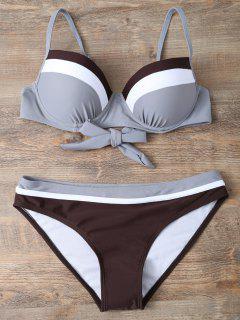 Color Block Bowknot Bikini Set - Grau S