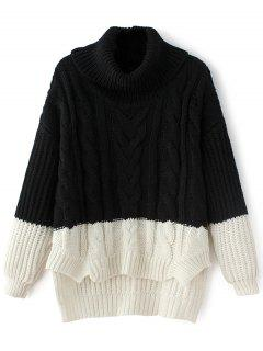 Cowl Neck High-Low Sweater - Black